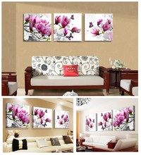 3 Pieces Modern Wall Art Print Canvas Printed Painting Home Decor for Living Room Pink Flowers Back to the Future Frame