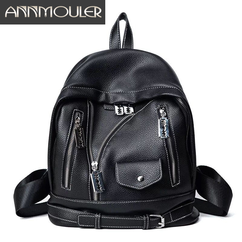 Annmouler Women Backpack Bolsa Feminina Pu Leather Shoulder Bag Black Solid Color Casual Daypack Fashion School Bag for Girls women backpack fashion pvc faux leather turtle backpack leather bag women traveling antitheft backpack black white free shipping