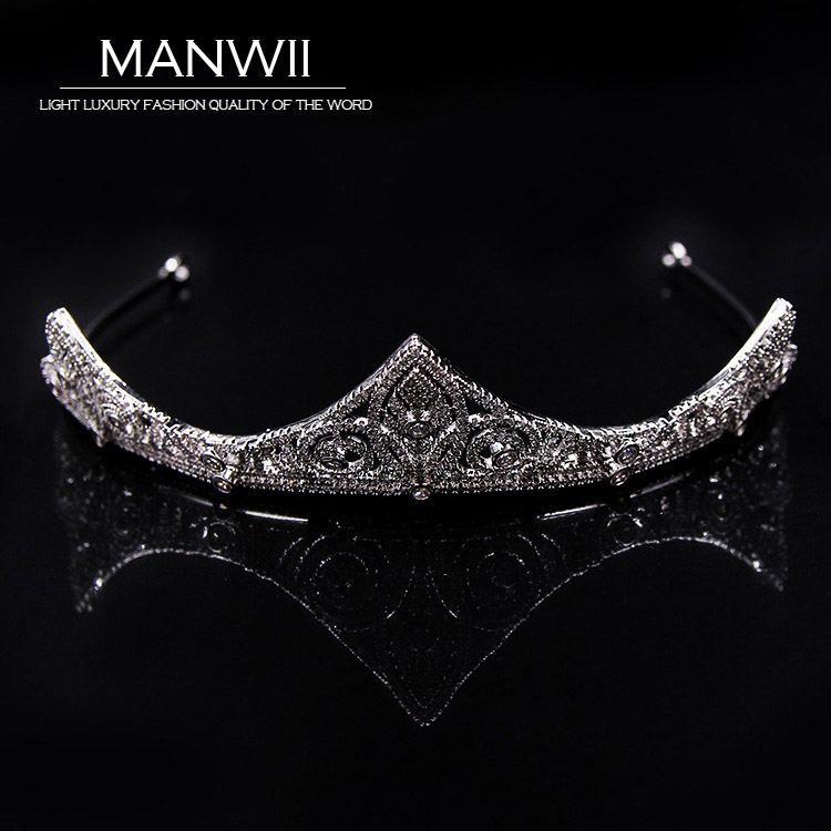 MANWII High-quality Crowns and Tiaras Trendy Cubic Zirconia Bride Wedding Hair Accessories Headwear Jewelry New Arrivals HA20019 00009 red gold bride wedding hair tiaras ancient chinese empress hair piece