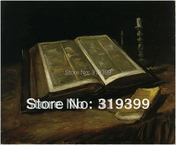 100% handmade oil painting reproduction on linen canvas,Free DHL or FeDex Shipping,Still life with Bible by vincent van gogh