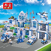 BanBao Police Station Building Blocks Toys For Children City Hero helicopter Cars Truck Moto Boat Stickers Compatible With Legoe