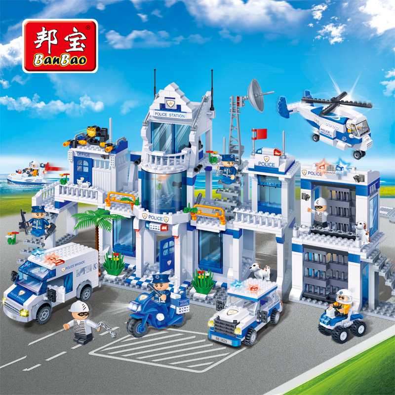 BanBao Police Station Building Blocks Toys For Children City Hero helicopter Cars Truck Moto Boat Stickers Compatible With Legoe lepin 02012 city deepwater exploration vessel 60095 building blocks policeman toys children compatible with lego gift kid sets
