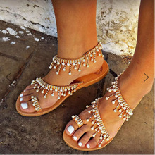 2019 summer ladies new handmade beaded sandals European and American fashion flat 35-43 large size