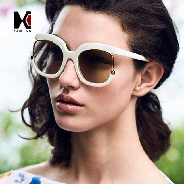 ce5d9934af55b SHAUNA Oversize Women Half Frame Sunglasses Brand Designer Fashion Ladies  Unique Round Gradient Lens Shades UV400