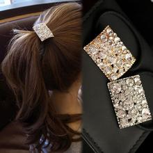 2016 New Trendy Exquisite Women Silver Gold  Hair Band Rope Full Rhinestone Scrunchie Ponytail Holder Headwear Accessories
