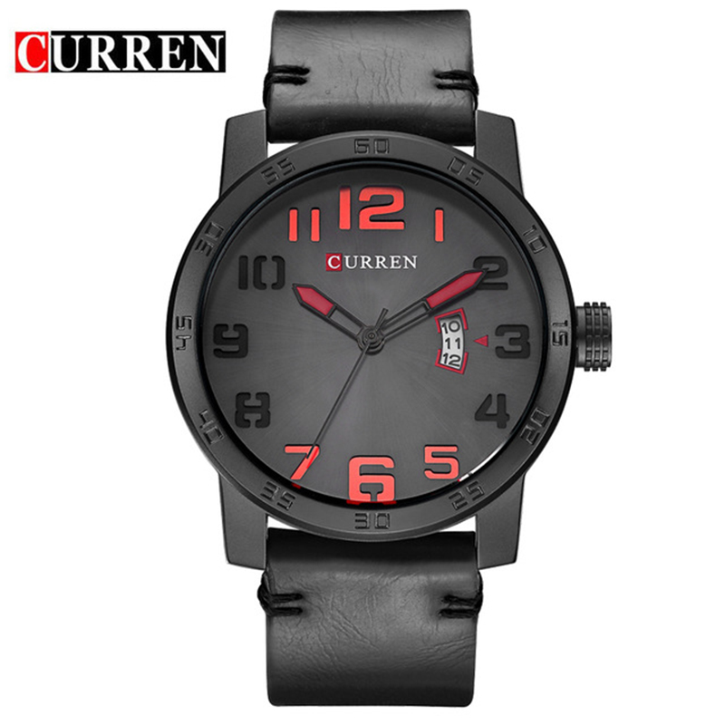 Curren 8254 Watch Mens Brand Luxury Leather Strap Quartz Watch Men Fashion Casual Sport Wristwatch Male Clock Relogio Masculino pagani design mens watch fashion luxury brand clock male casual sport wristwatch men pirate skull style quartz watch reloj hombe