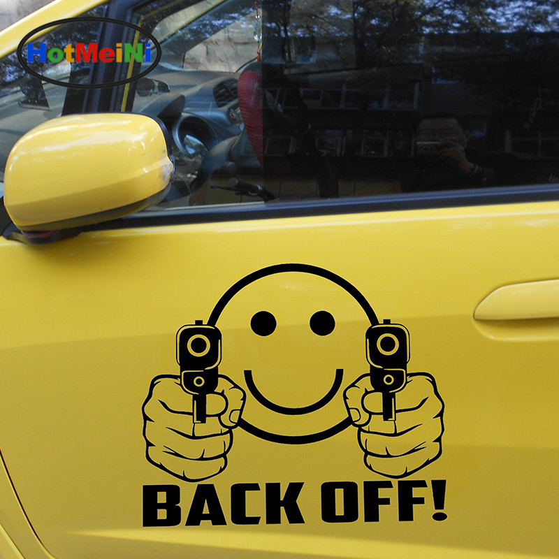 HotMeiNi 2 X Back Off! Classic Lovely Smile Strong and Powerful Hand Holding Guns Funny Car Stickers Door Vinyl Decal 9 Color