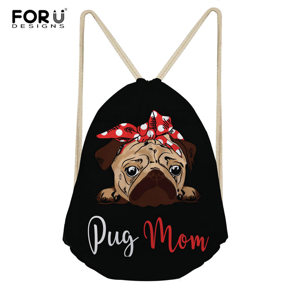 FORUDESIGNS Pug Dog Print School Drawstring Backpack Bag Shoes Backpack Daily Women Drawstring Bags Bolsa Cordones Mochila