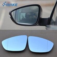 smRKE 2Pcs For Volkswagen Magotan Rearview Mirror Blue Glasses Wide Angle Led Turn Signals light Power Heating