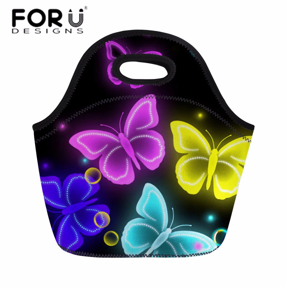 FORUDESIGNS Women Lunch Bag Camping Bag Outdoor Colorful Butterfly Printing Portable Picnic Basket Cooler Bag for Food Handbag