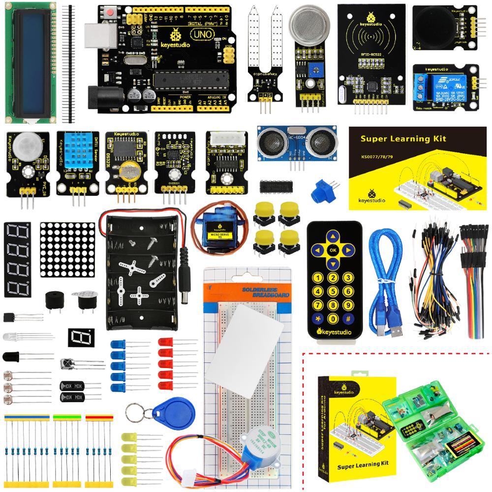 Keyestudio Super Starter kit/Kit de Aprendizagem (UNO R3) para Arduino Educação W/Caixa de Presente + 32 Projetos + Manual Do Usuário + PDF (online)