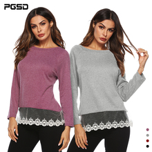 PGSD New Simple fashion Womens clothes Lace splicing Pure color Round collar Long sleeves Straight cylinder type Urban leisure