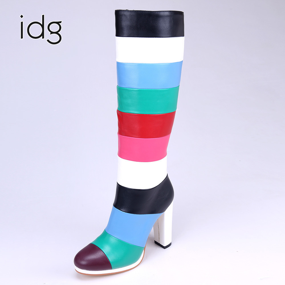 Idg Brand Cortex Seven Colors Long Stitching High Heels Woman Boots women Winter Plus Short Plush Keep Warm bota feminina mujer idg brand women slip on high heels short rough with the fall and winter metal buckle rivets shoes woman zapatos mujer tacon