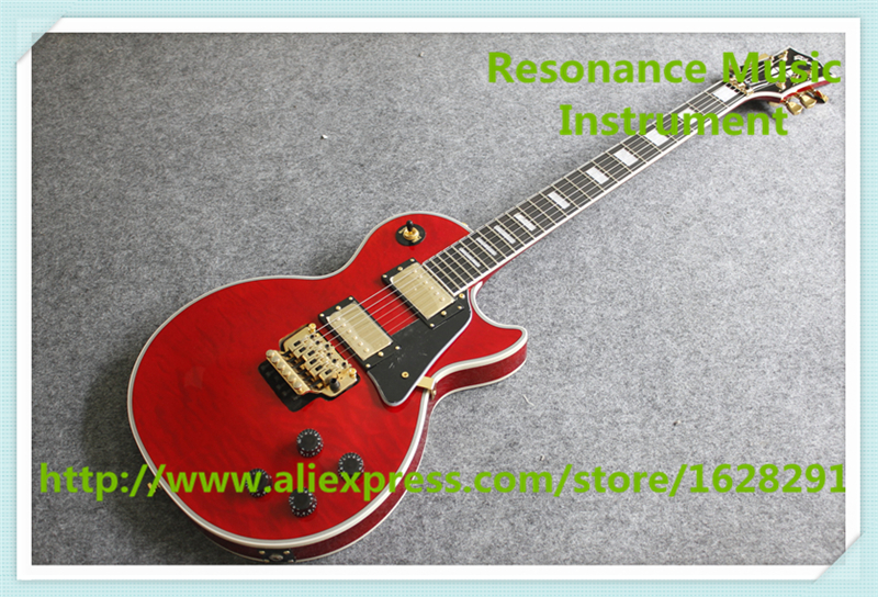 Hot Sell Chinese Red Quilted Finish AL Signature LP Standard Guitars Electric With Gold Floyd Rose Tremolo girls with guitars take over lp
