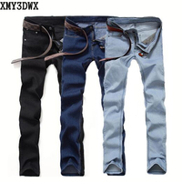 2017 Fashion Men's Casual Stretch Skinny Jeans Trousers Tight Pants Solid Colors Jeans Fashion Slim Jeans Male Denim trousers