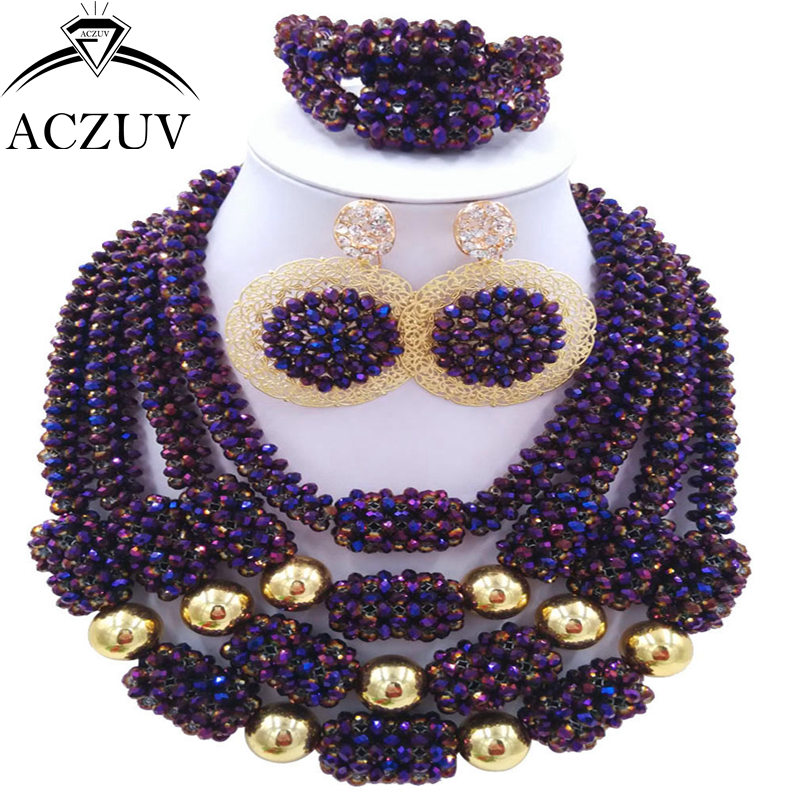 ACZUV Latest Purple AB African Beads Jewelry Set for Women Nigerian Necklace Bridal Wedding Party Jewelry Sets D4R025 purple clear ab crystal african wedding beads nigerian beaded necklace jewelry set bridal party jewelry sets for women 10c sz30