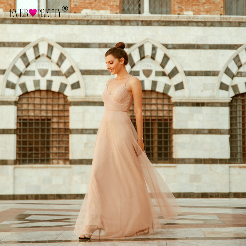 2018   Evening     Dresses   Ever Pretty EP07369 Long Blush Pink A-line Chiffon   Dresses   For Wedding With Ruched Bodice Robe