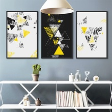 Nordic Abstract Colorful Geometric Yellow Canvas Painting Wall Pictures for Living Room Home Decoration Art Posters and Prints