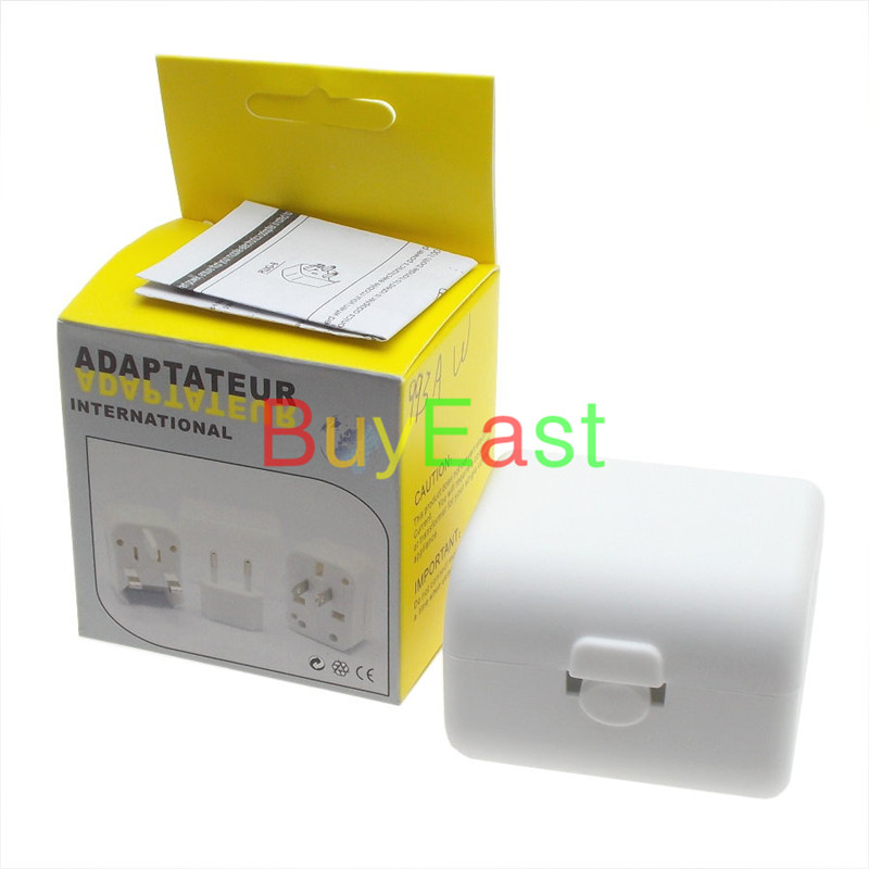 Free shipping World Global All In One Travle Adapter US/EU/GB/AU/China/Japan Universal Power Plug Converter  White color