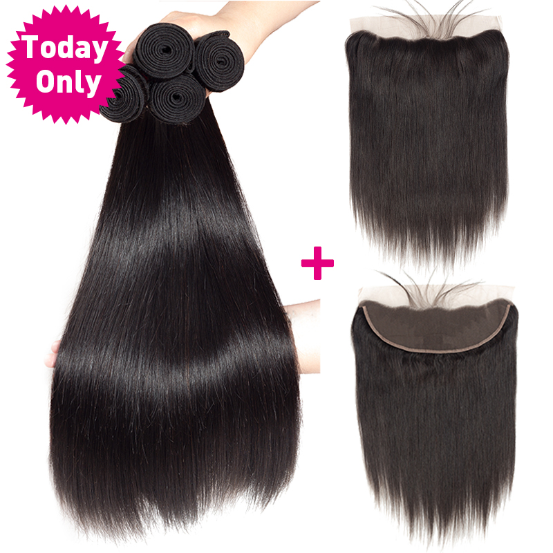 TODAY ONLY Brazilian Straight Hair 3 Bundles With Frontal Remy Human Hair Bundles With Frontal Lace