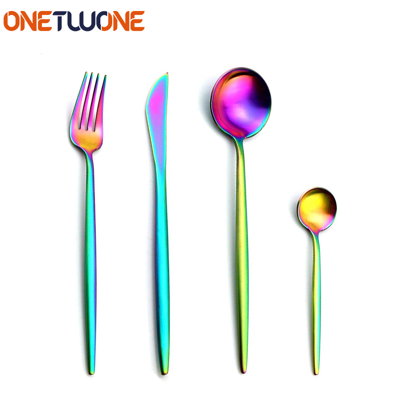 Onetwone Stainless Steel Dinnerware Utensils Set, 4 Pieces Cutlery Tableware Sets with Fork Knife Spoon, Rainbow Flatware Set