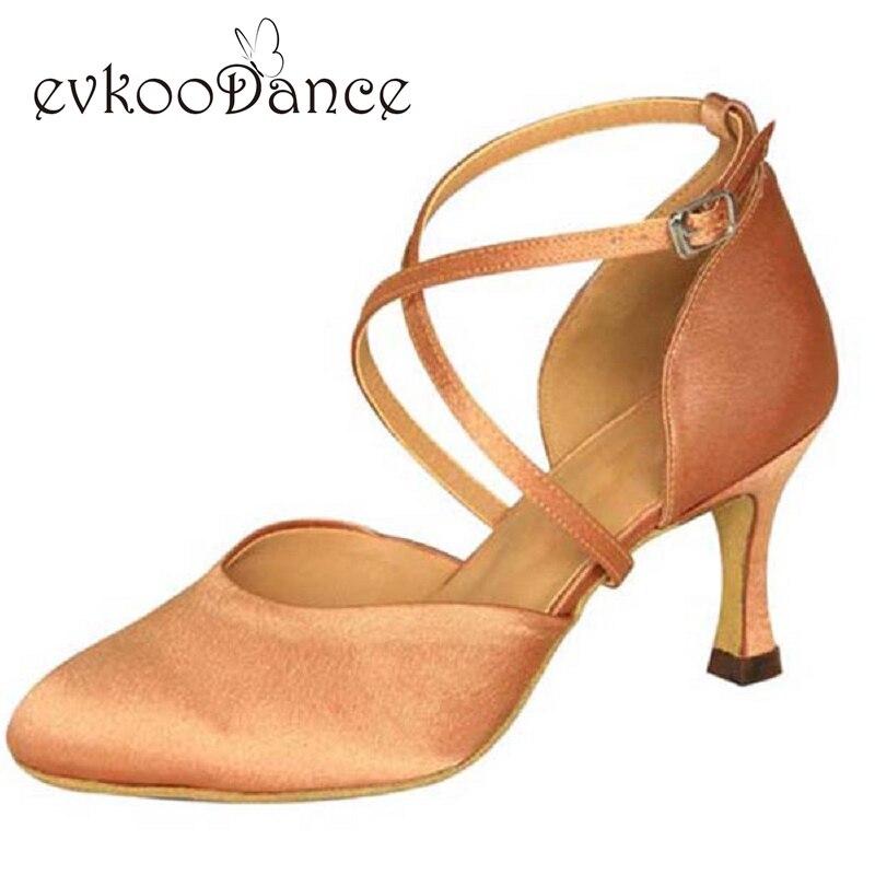 Heel Height 7cm Zapatos De Baile font b Salsa b font Satin Brown Khaki Black Tan
