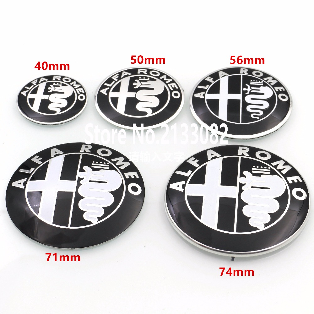 2pcs Black New 40mm 50mm 56mm 71mm 74mm ALFA ROMEO Car Logo emblem Badge sticker for Mito 147 156 159 166 Giulietta Spider GT alfa romeo 166 2 4 в ростове