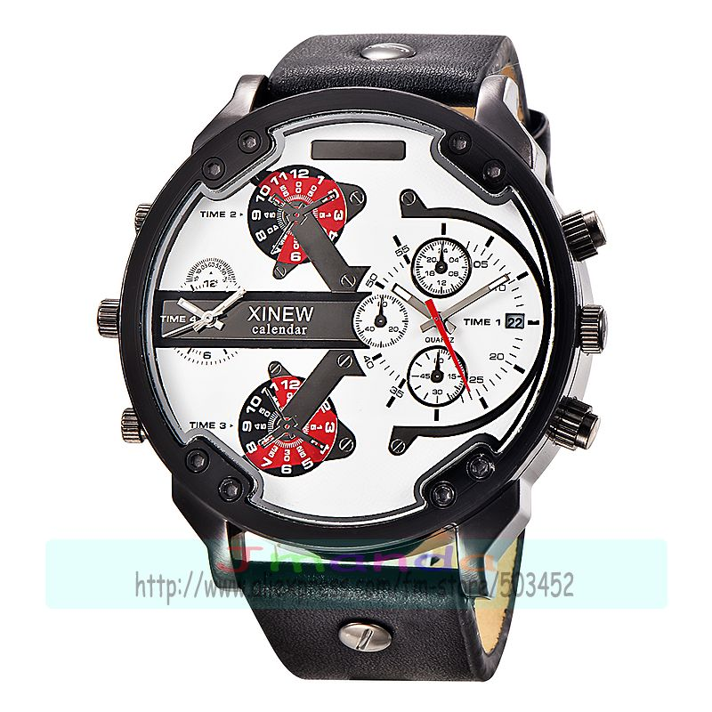 30pcs/lot xinew 5918 new arrival high quality leather watch big round dial calendar man quartz wristwatch wholesale date watch-in Quartz Watches from Watches    2