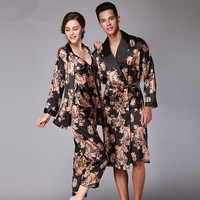 Spring Couple Pajama Suit Emulation Silk Women Robe Sets Full Sleeve Sleepwear For Men Silk Satin Pijamas Casual Homewear FT190