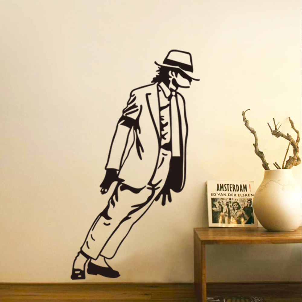 2015 Hot Sell Dancing Michael Jackson Wall Stickers /Removable Vinyl Home Decor  Art Poster /Party Decal DIY WallpaperZY8328