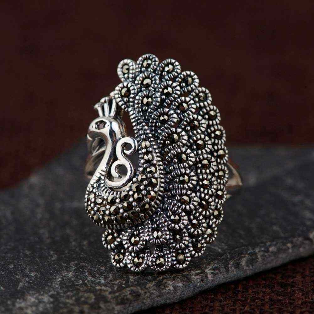 FNJ 925 Silver Peacock Ring MARCASITE New Fashion Animal S925 Sterling Thai Silver Rings for Men Women Jewelry Size 7.5-11