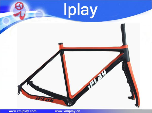 2019 New IPLAY Toray T800 Carbon Cyclocross Frame Disc-brake Carbon CX Frameset Di2 Compatible Carbon Cyclocross Bike Frame Fork
