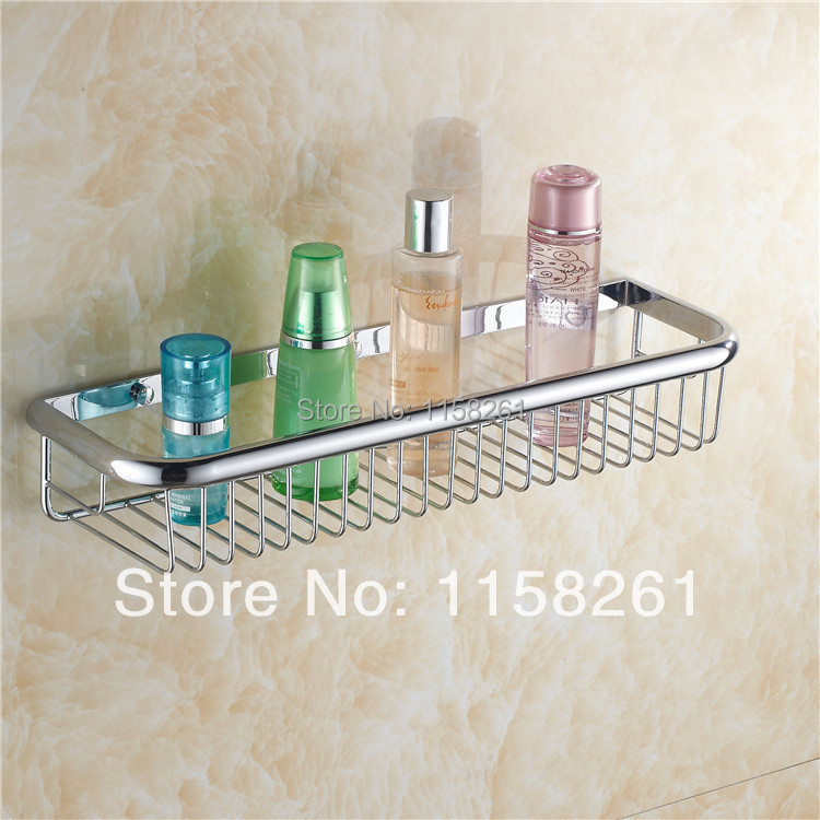 Bathroom Shelves 45cm Single Tier Basket Brass Chrome Shower Shelf ...
