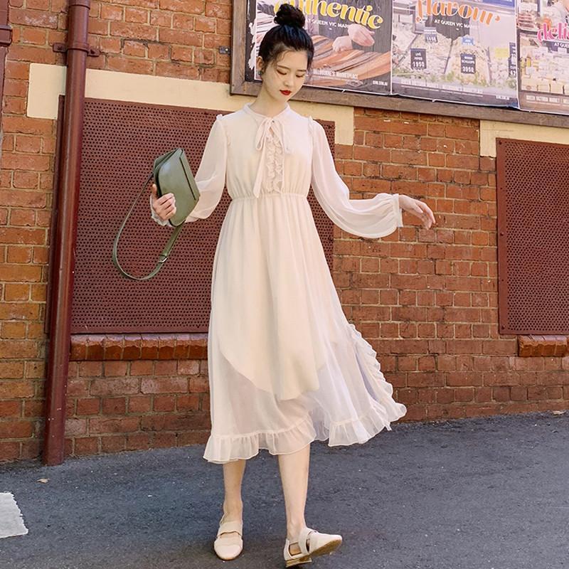 Vintage À Femmes Femme apricot Nouveau Mousseline Manches Printemps Robe ligne Dames A V913 2019 Solide Volants Lanterne Red Automne Plissée Robes En lJTK31Fc