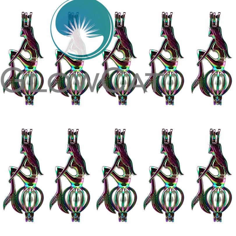 6 Colgantes Arco Iris Antiguo Tono Plata S55