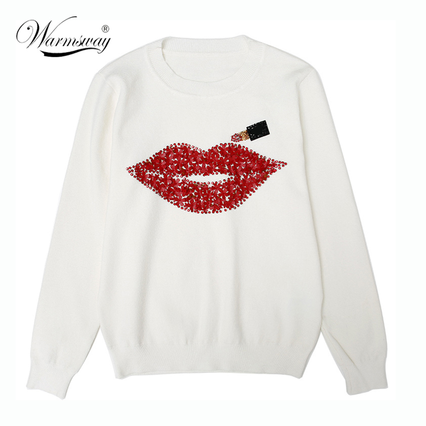 Harajuku Women Sweater Autumn Winter 2019 Brand Designer Hand Made Diamonds Red Lips Sequined Tops  Female Lipstick Knit C-021