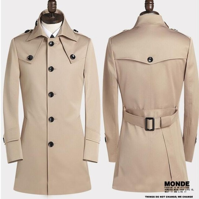 New Arrival Man High Quality Fashion Mens Cotton Casual British Style Buttons Slim Fit Coat Trench Outwear Windbreaker Plus Size