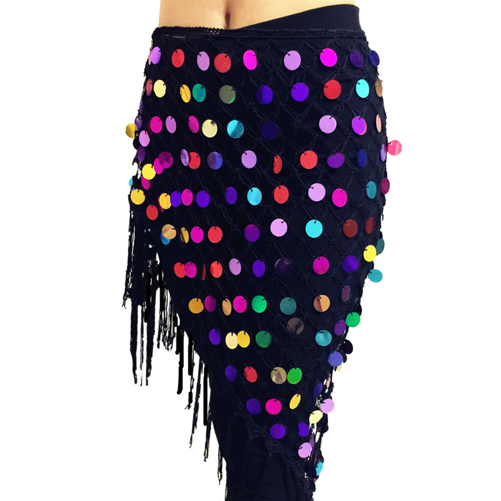 2019 Belly Dance Costumes Hip Scarf Wrap Belt Skirt Sequins Triangle Belly Dance Training Clothes Accessories Hip Scarf
