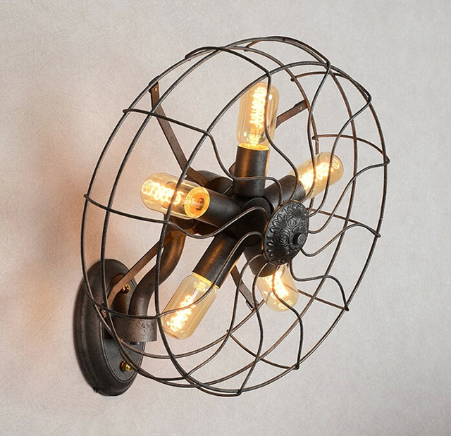 Retro Fan Wall Lamps Creative Clothing Cafe Decorative Bar  Heads Thicker Material Industry Wall Lights
