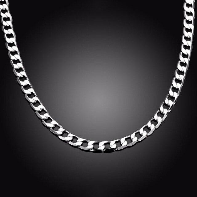 6MM 24 inchs 50cm Silver Plated Cuban Curb Chain Necklace Male Jewelry Brazilians Men Silver 925 Chain Cuban Thin Colar de Prata