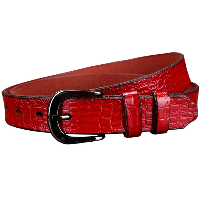 Genuine Leather Belt For Woman – Crocodile Style