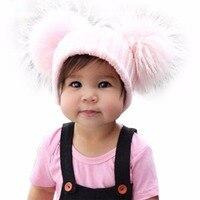 2017 Bambini di modo di alette cappello di lana orecchio doppia sfera 13 cm vero procione capelli palla white hot vendita Autunno e inverno nuovo tenere caldo
