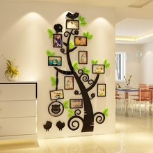 Cartoon bird photo frame tree DIY Childrens room bedroom home living TV background wall decoration 3D acrylic sticker