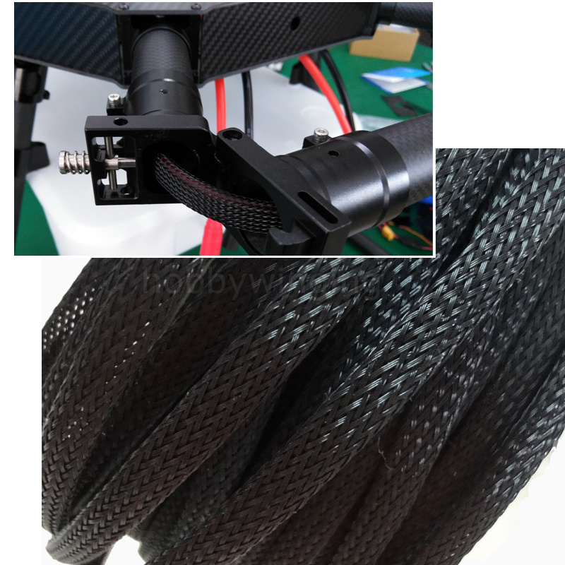 Agriculture drone 8mm / 10mm telescopic braided hose PET snakeskin net tube wire protection wire black 10 meters аксессуар bbb bmp 47 hoseroad telescopic 190 mm