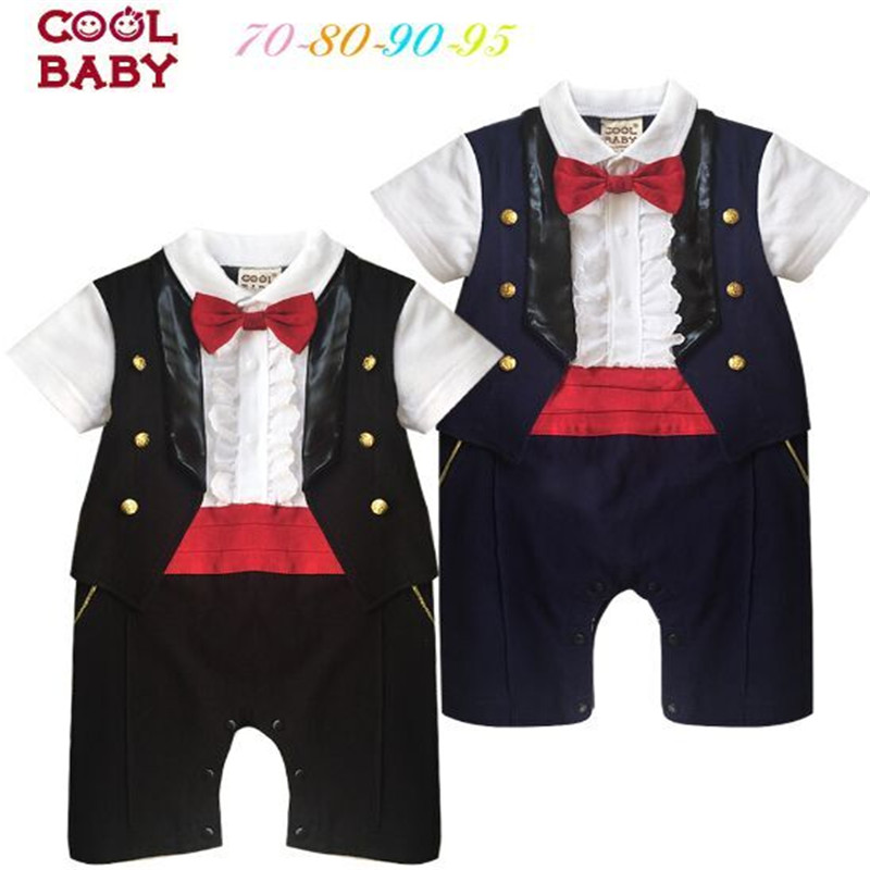Baby Clothes Baby Boy Short Sleeve Romper Occident Style Newborn Baby Clothes Onesie False Two Vest Gentleman Boys Jumpsuit