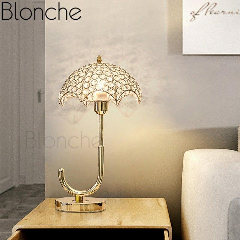 Nordic Modern Crystal Table Lamp Gold Umbrella Desk Light for Living Room Bedroom Home Decor Bedside Luxury Fixture E27 Lighting