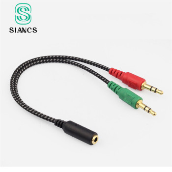 Nylon 3.5mm Jack male to 3.5 Microphone  and earphone female Extension Aux Audio Splitter Cable Y Stereo Splitter for iPhone 5s sparkling crystal stereo earphone 3 5mm jack