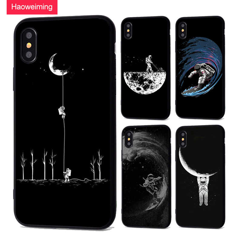 Newest Space Moon Astronaut Phone Case For iphone 7 8 X Case For iphone 5 6 7plus XR XS Max Planet Star Frosted Soft Back Cover