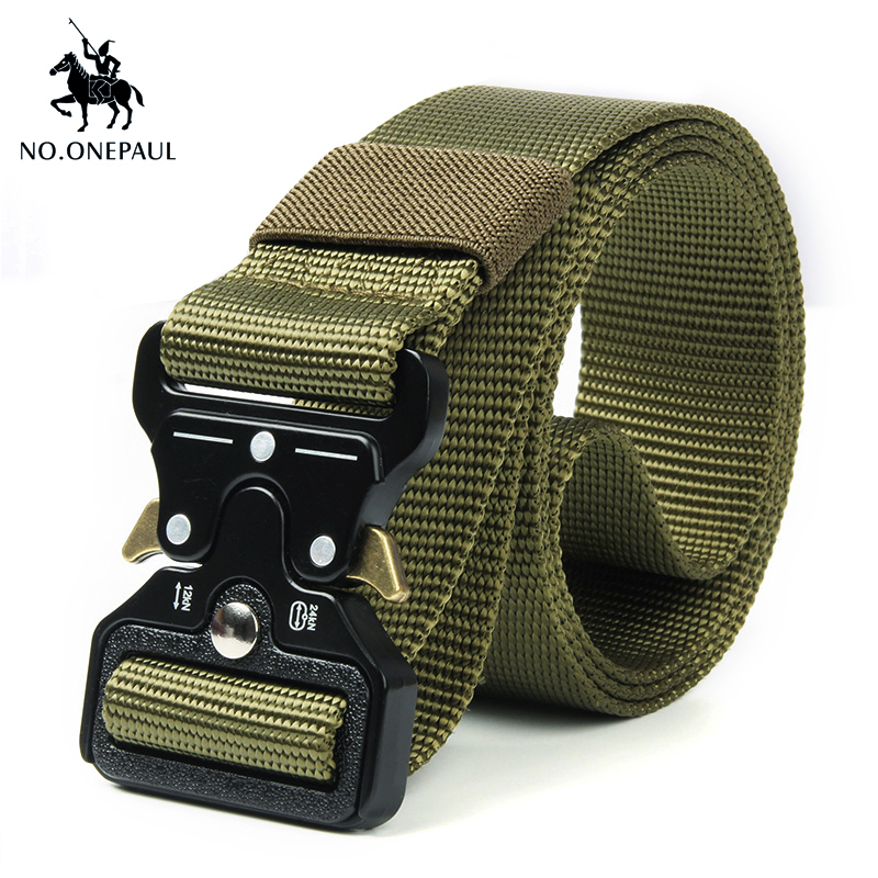 NO.ONEPAUL Men's Military Classic Tactical Belt High Elastic Metal Hook Outdoor Training High Quality New Nylon Soldier Belts