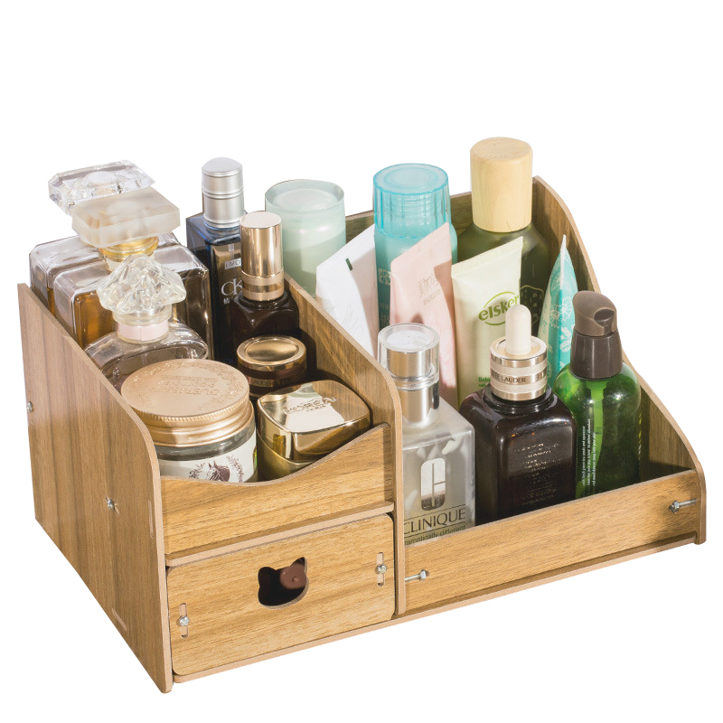 Wood Multi layer Desk Sets High Capacity Organizer With Drawers Wooden Box Accessories